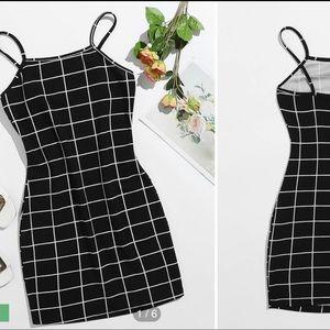 Grid Print Mini Dress Size S